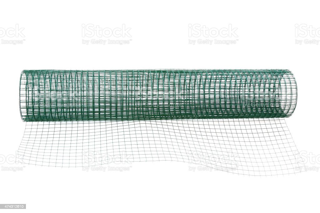 Metal net coated with green PVC stock photo