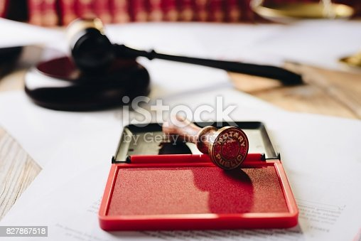istock Metal notary public ink stamper 827867518