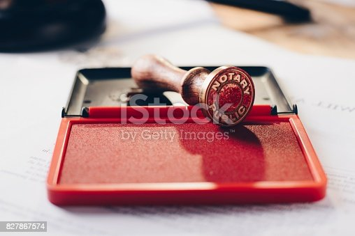 istock Metal notary public ink stamper 827867574