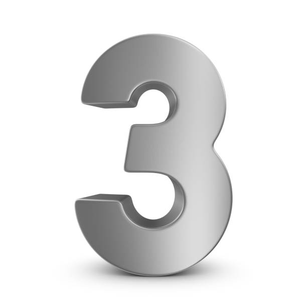 metal number 3 - number 3 stock photos and pictures