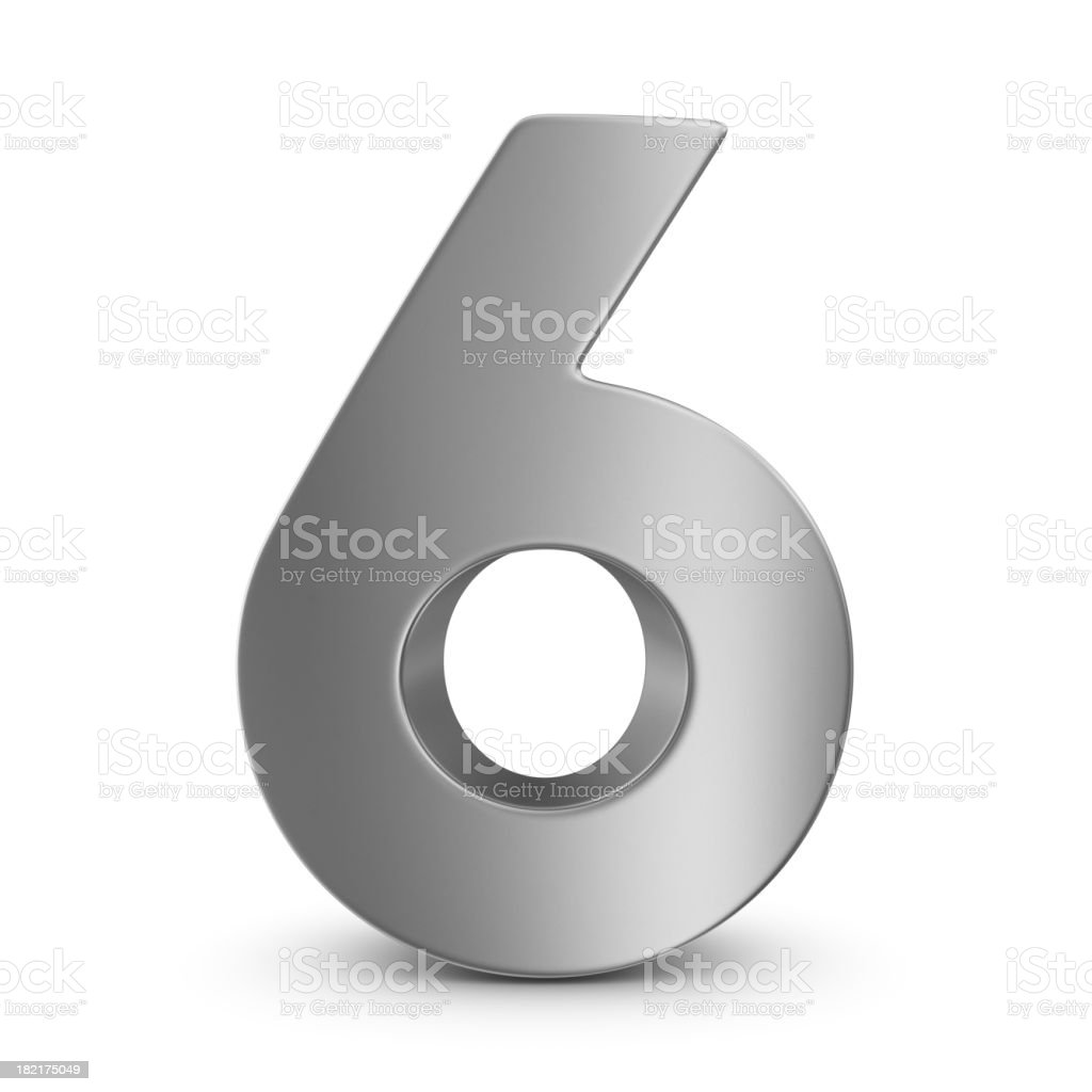 metal number 6 stock photo