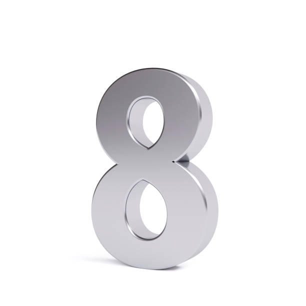 metal number 8, isolated on white. collection. - number 8 stock pictures, royalty-free photos & images