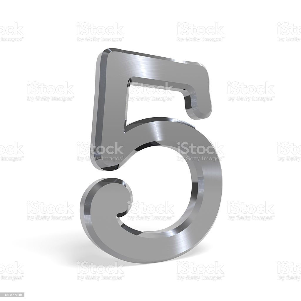 Metal number five (5) All others available as well royalty-free stock photo