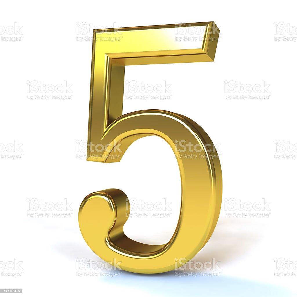 3D metal number five in background royalty-free stock photo