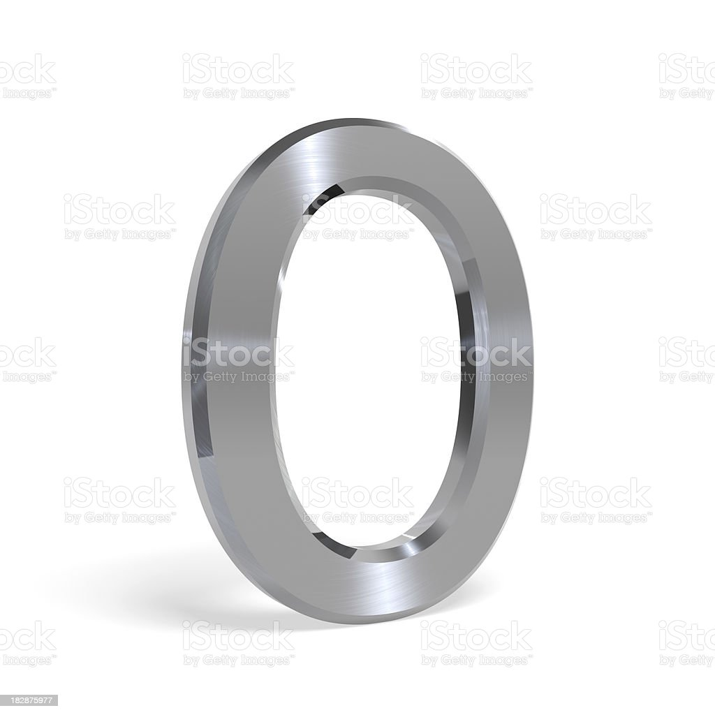 Metal number zero (0) All others available as well royalty-free stock photo