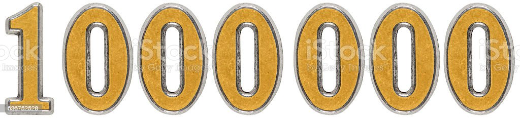 Metal numeral 1000000, one million, isolated on white background stock photo