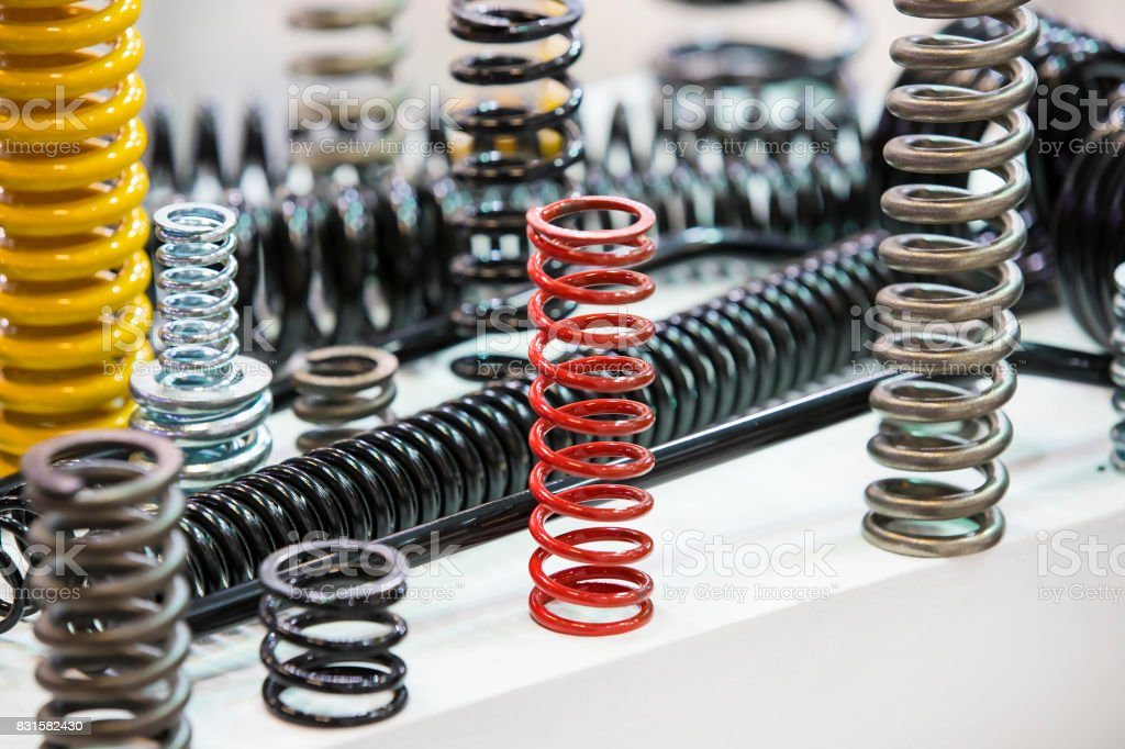 metal of different sizes car springs stock photo