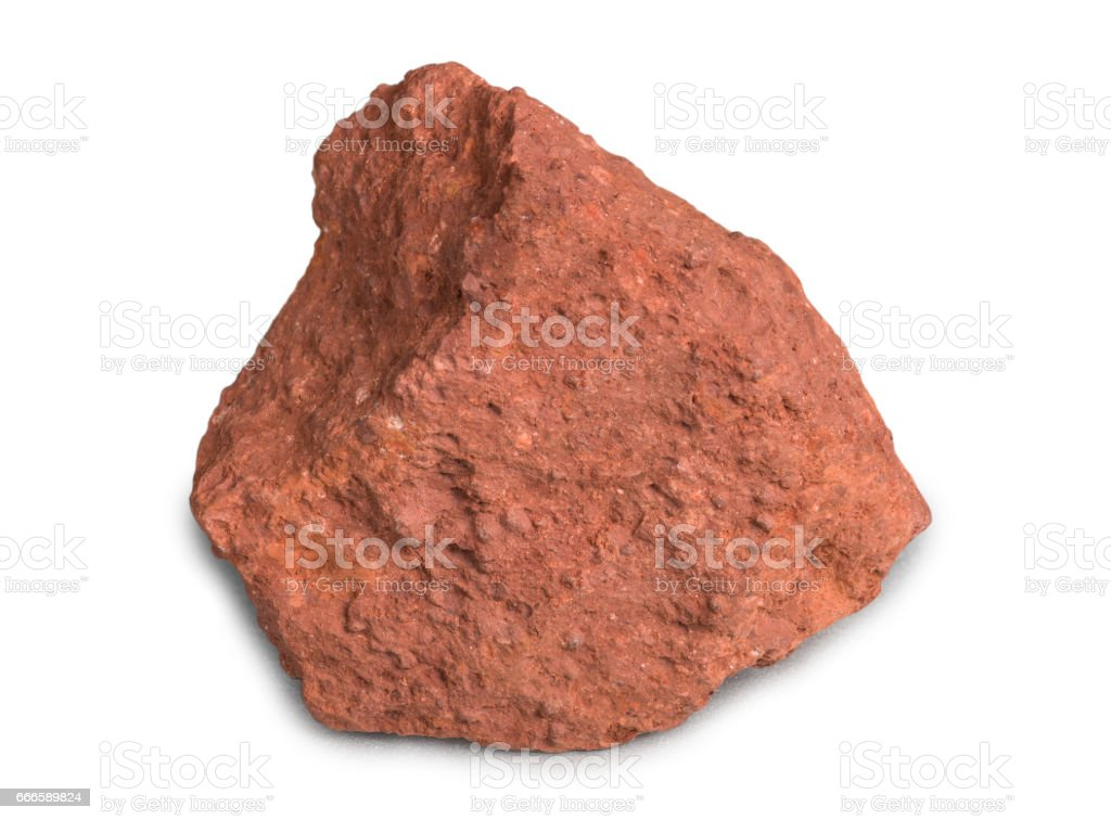 Metal ore bauxite isolated on white background. Bauxite, an aluminum ore, is the main source of aluminum metal. - Photo