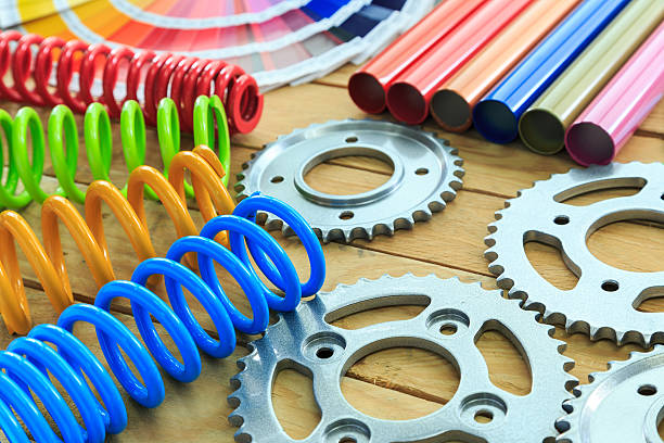 metal parts coated with powder coating – Foto