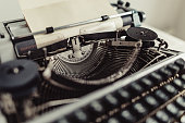 Closeup of metal parts of old typewriters