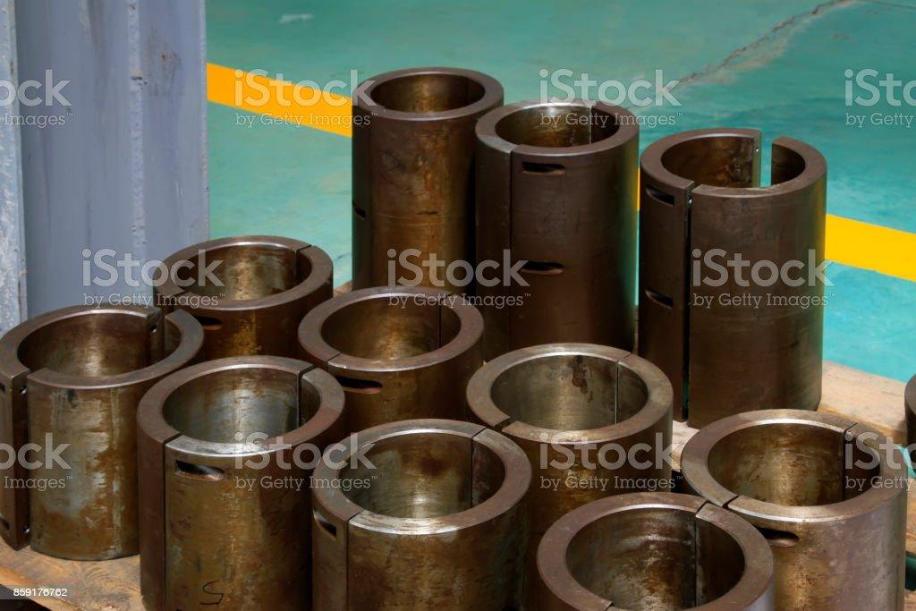Metal parts piled up together, closeup of photo stock photo