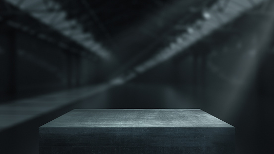 Metal pedestals for product show in warehouse. 3d rendering.