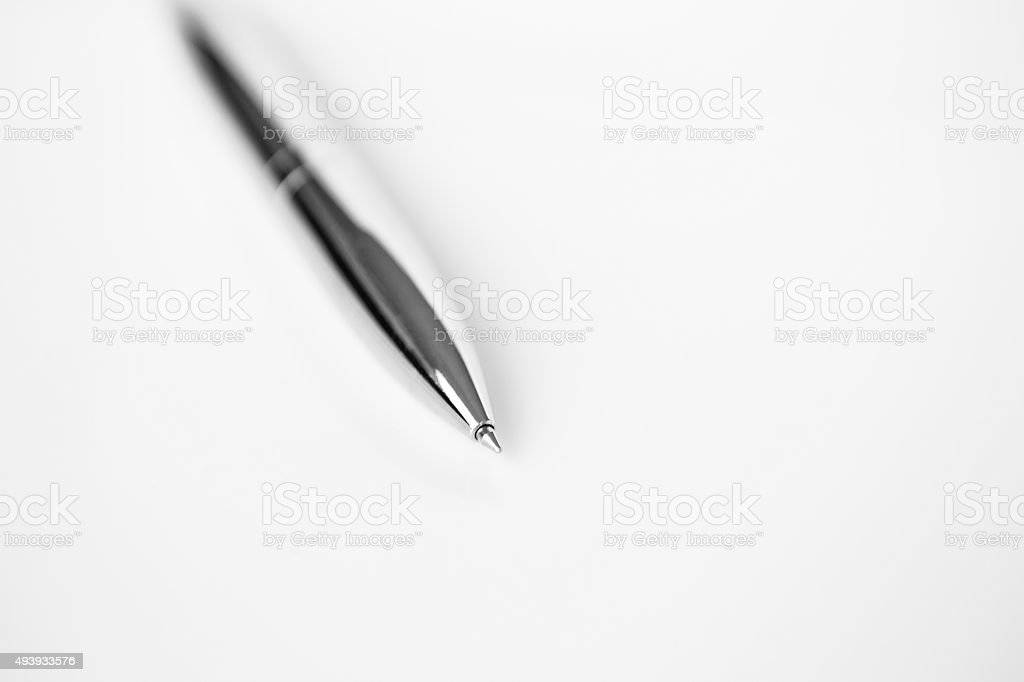 Metal pen for business on white stock photo