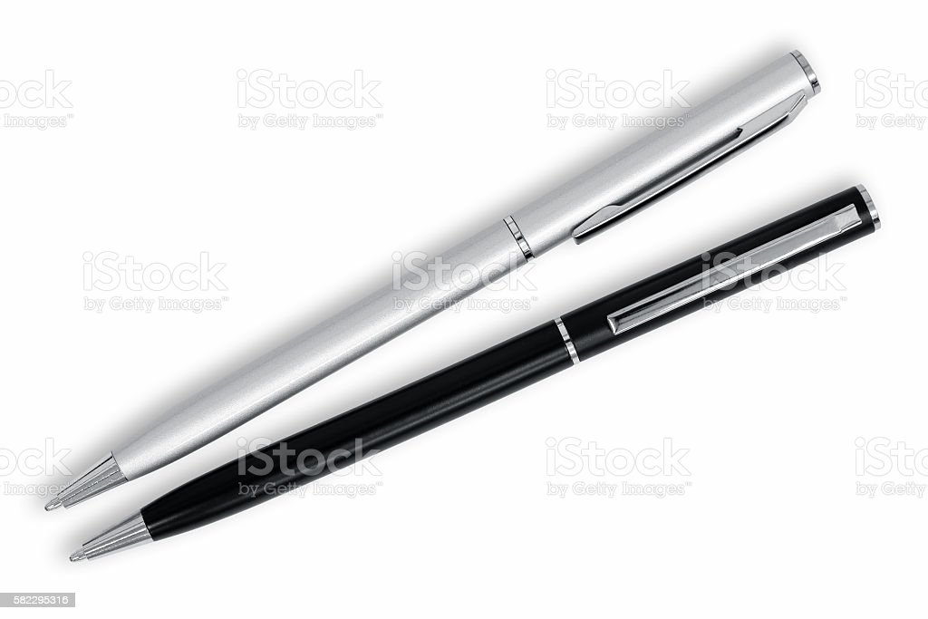 Metal pens stock photo