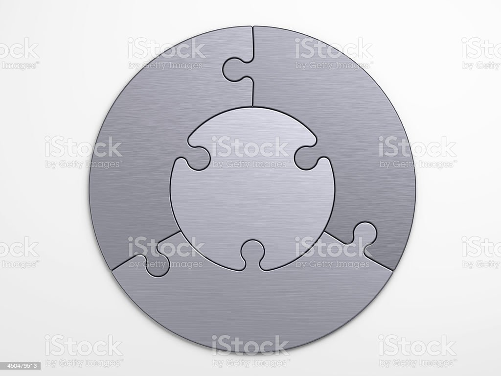metal pieces of puzzle to place concepts stock photo
