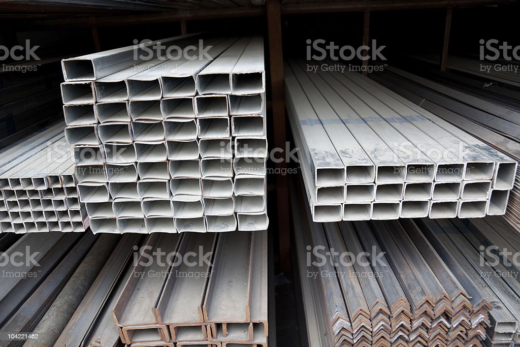 metal pipe stack on shelf royalty-free stock photo