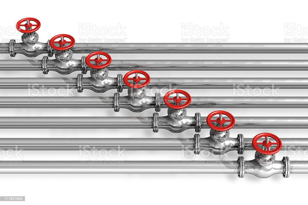Metal pipelines with red valves royalty-free stock photo