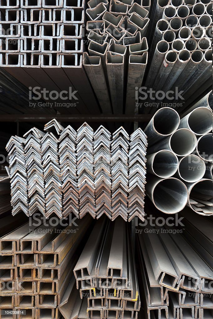 Metal pipes and angle iron  stack royalty-free stock photo