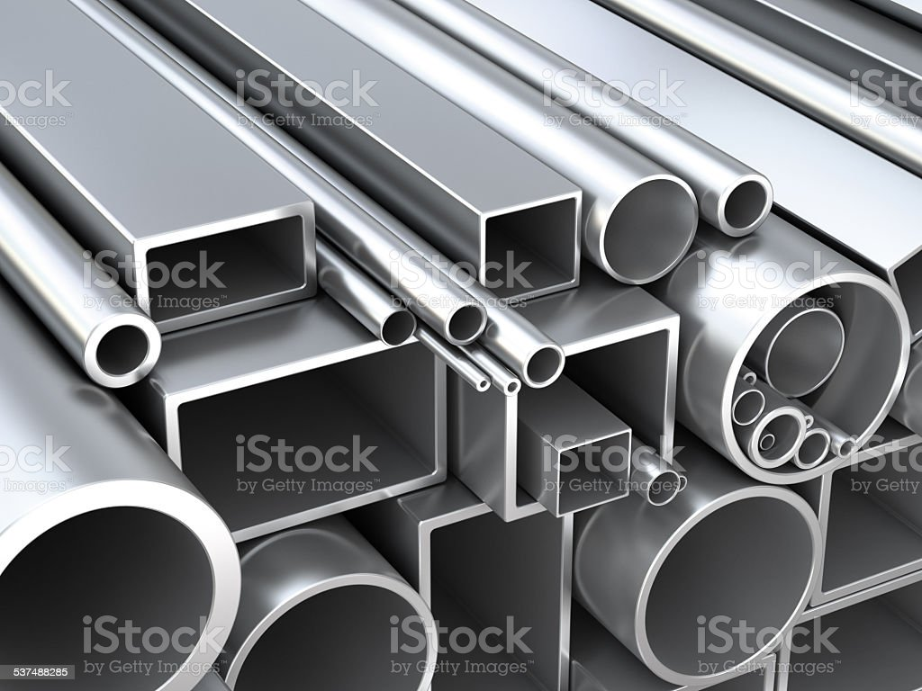 Metal pipes at warehouse stock photo