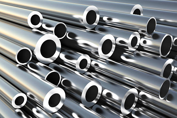 metal pipes on warehouse. - pipe tube stock pictures, royalty-free photos & images
