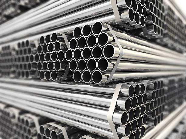 metal pipes. - steel stock photos and pictures