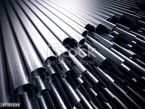 A stack of steel metal tubes with shiny reflections on them