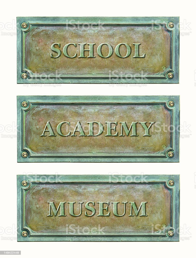 Metal plaque with text stock photo