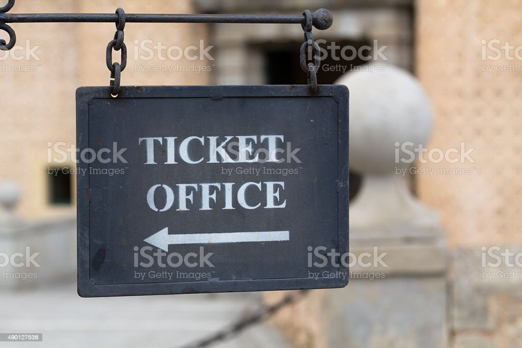 Metal plate for ticket office stock photo