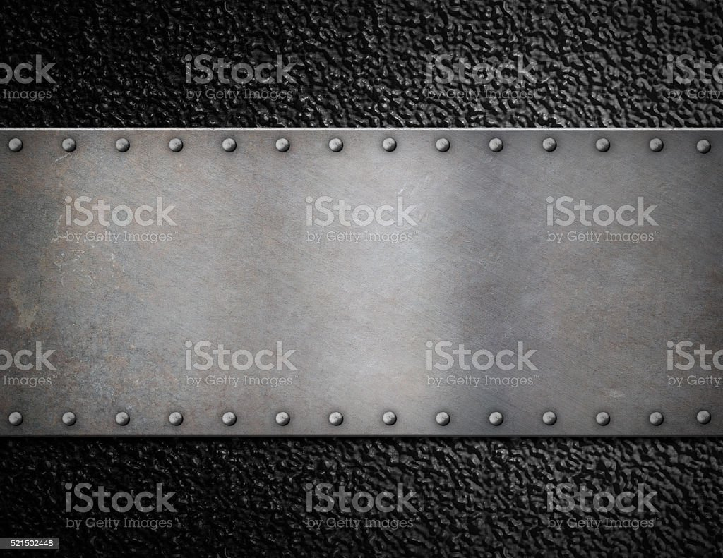 metal plate with rivets background stock photo