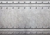 metal plate with rivets over rustic steel background, 3d, illustration