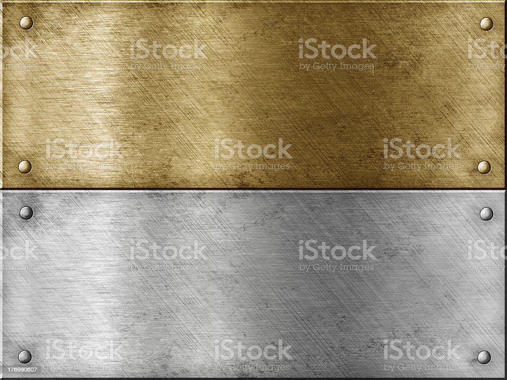 metal plates set including bronze or brass one stock photo