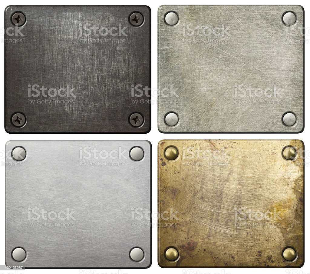 Metal plates with different textures and colors stock photo