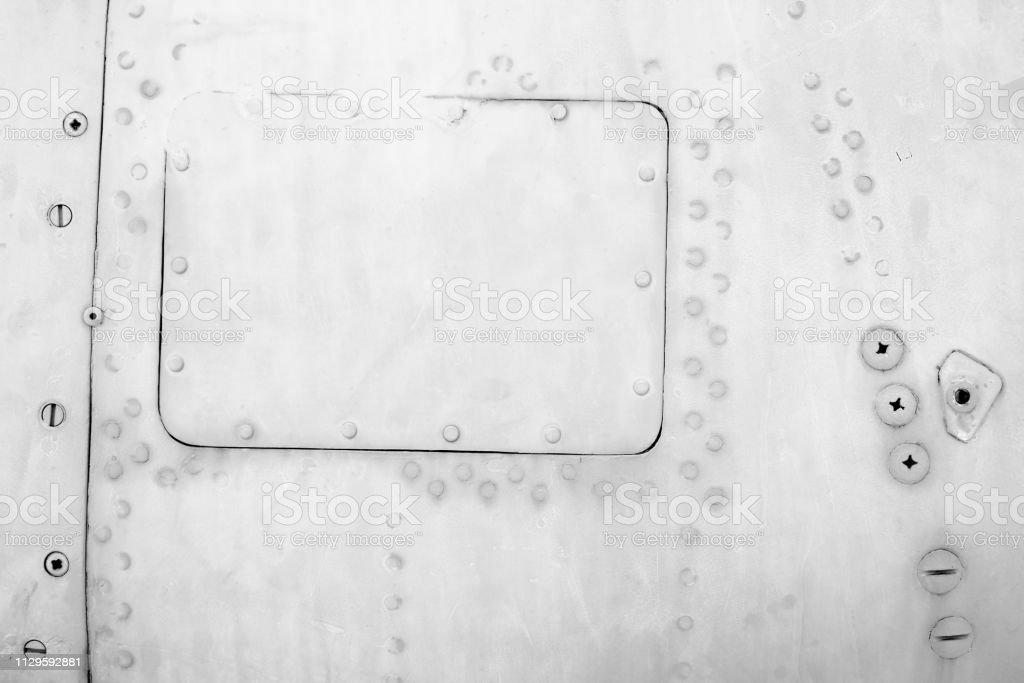 Metal Plates With Screws Old Aircraft Body Closeup Texture