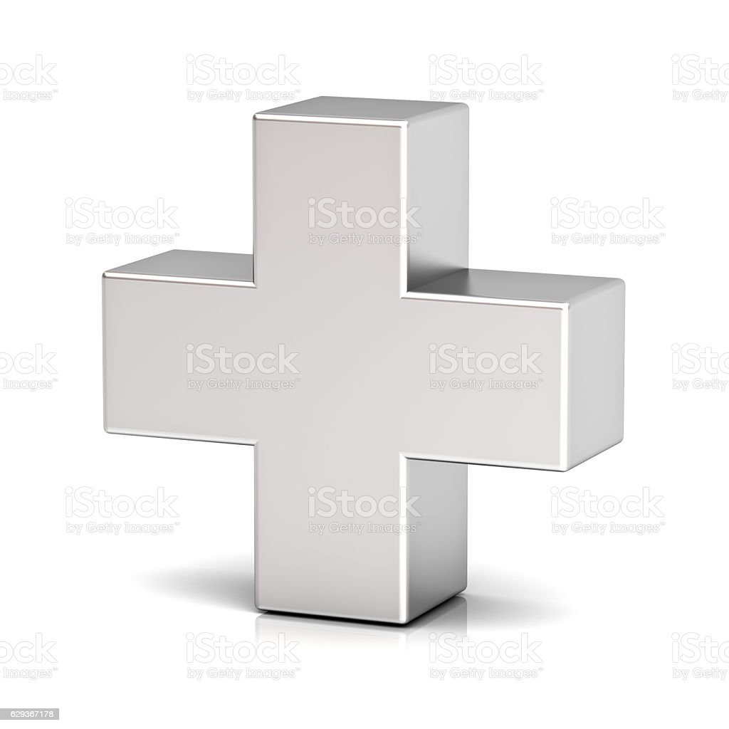 Metal Plus Sign stock photo
