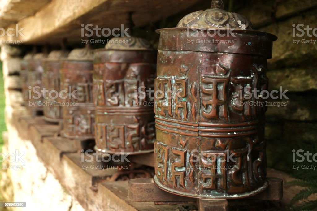 Metal prayer wheels from Nepal stock photo
