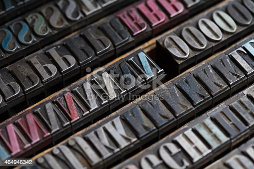 istock Metal printing press letters 464946342