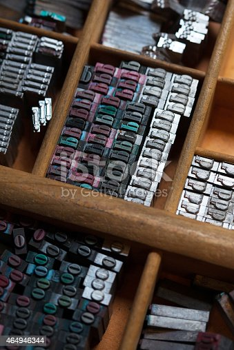 istock Metal printing press letters 464946344
