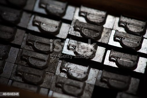 istock Metal printing press letters 464946348