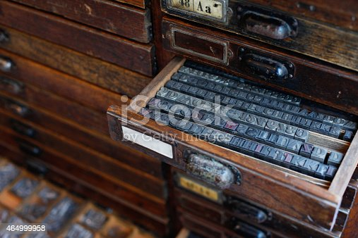 istock Metal printing press letters 464999958