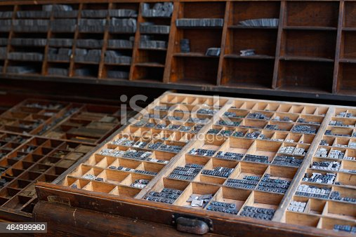 istock Metal printing press letters 464999960