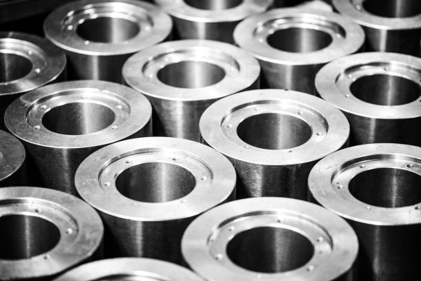 Metal products made by casting techniques closeup stock photo