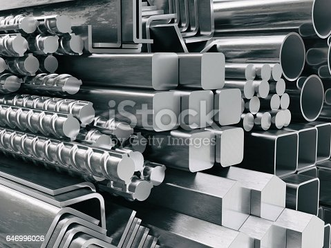 istock Metal profiles and tubes. Different stainless steel products. 646996026