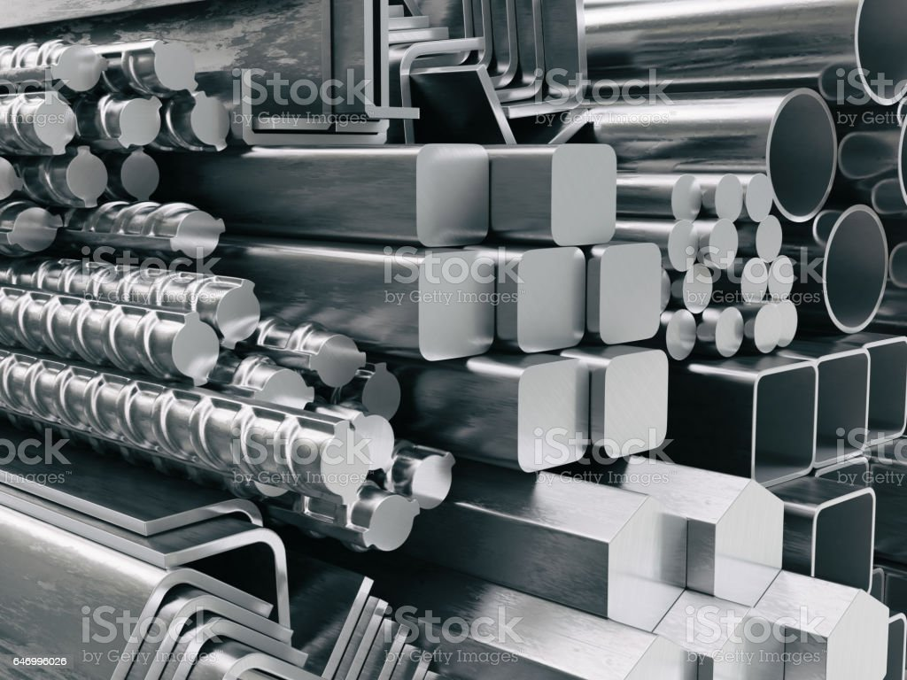 Metal profiles and tubes. Different stainless steel products. stock photo