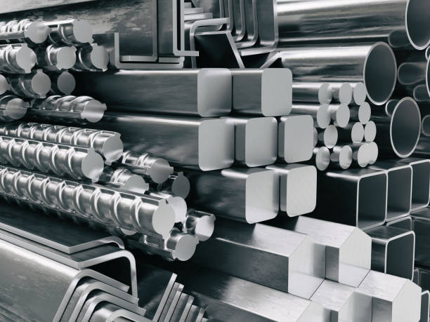 metal profiles and tubes. different stainless steel products. - aluminium stock photos and pictures