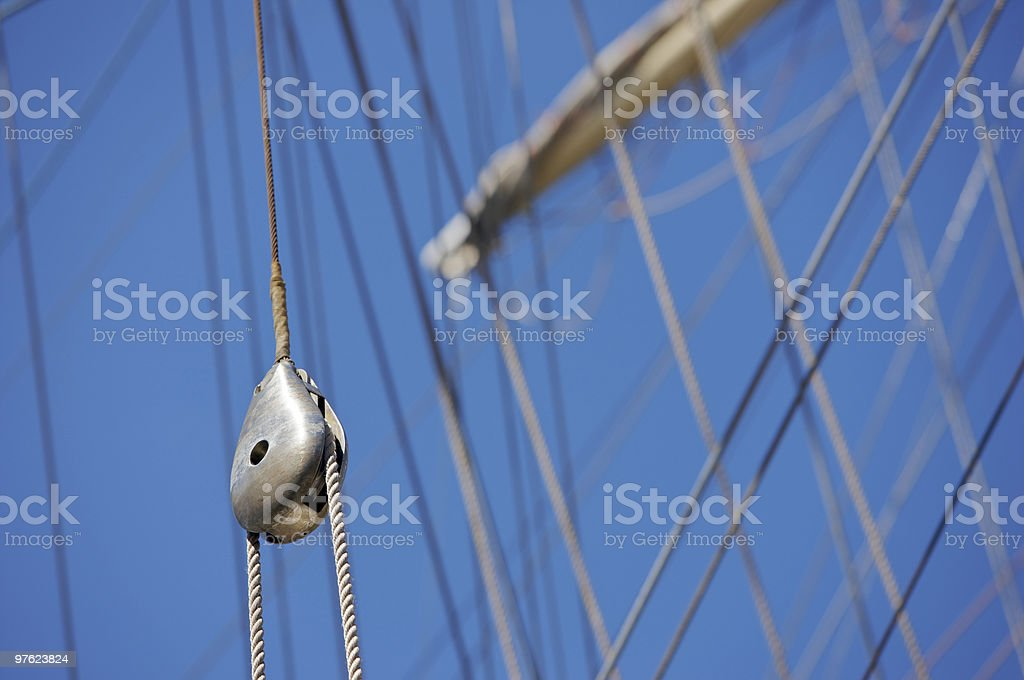 Metal Pulley and ropes on a Tall Ship royalty-free stock photo