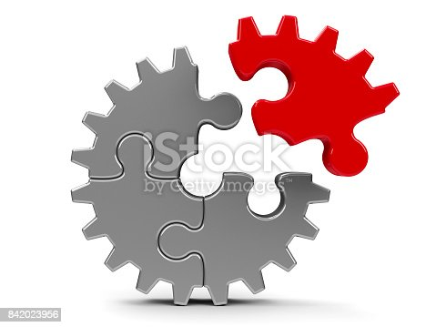 istock Metal puzzle gear #2 842023956