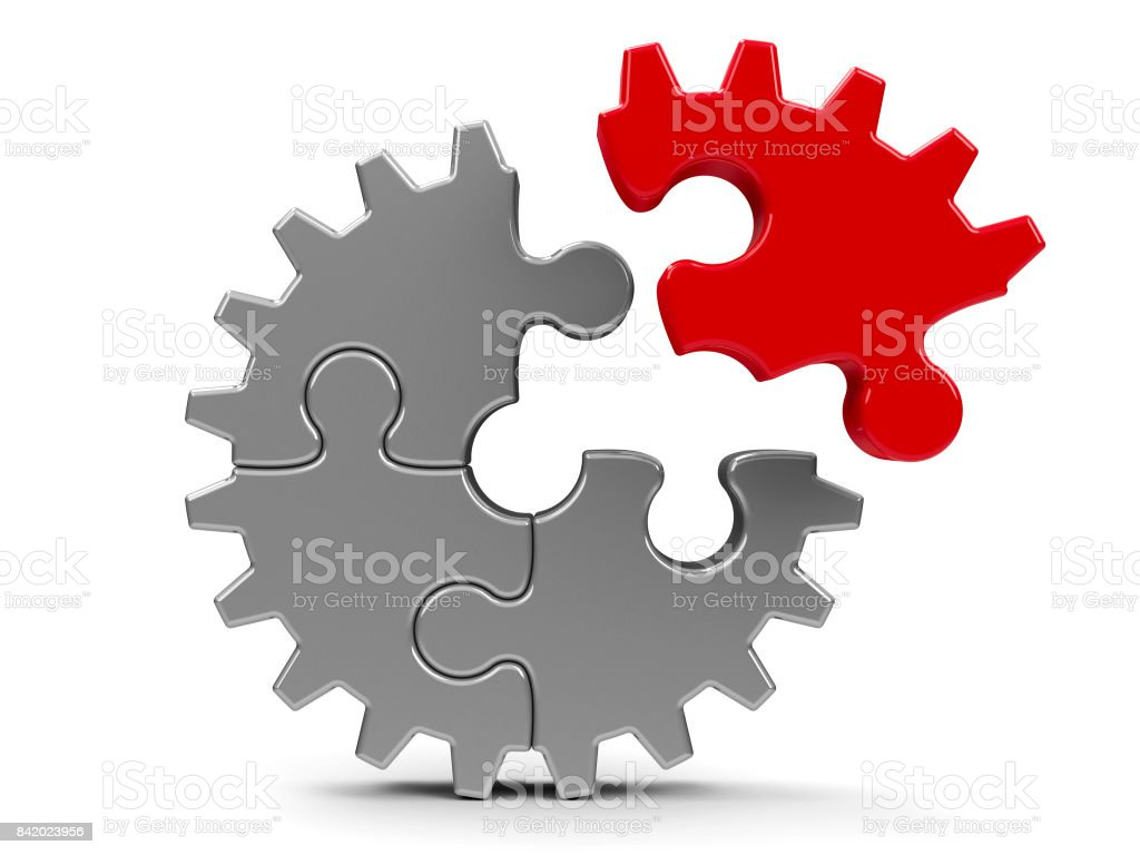 Metal puzzle gear #2 stock photo