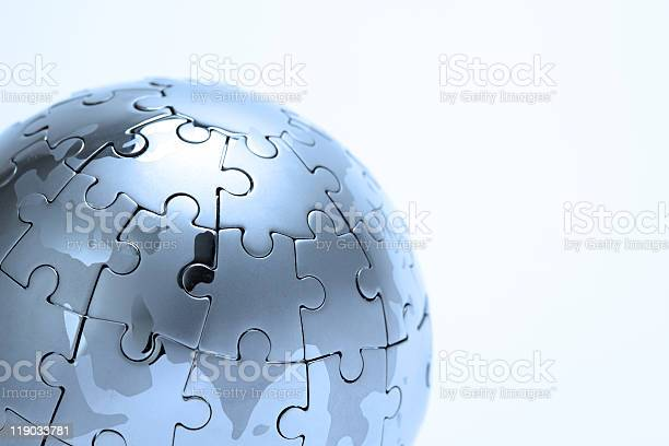 Puzzle Globus Aus Metall Stockfoto und mehr Bilder von Farbbild