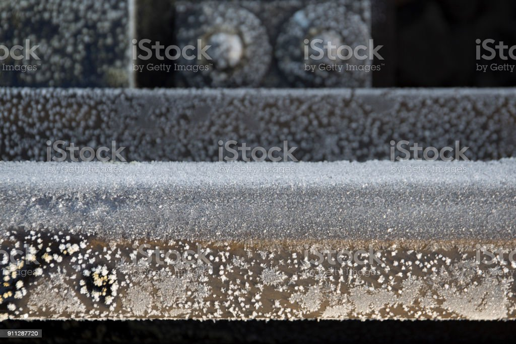 Metal rail fragment in the frost close-up royalty-free stock photo