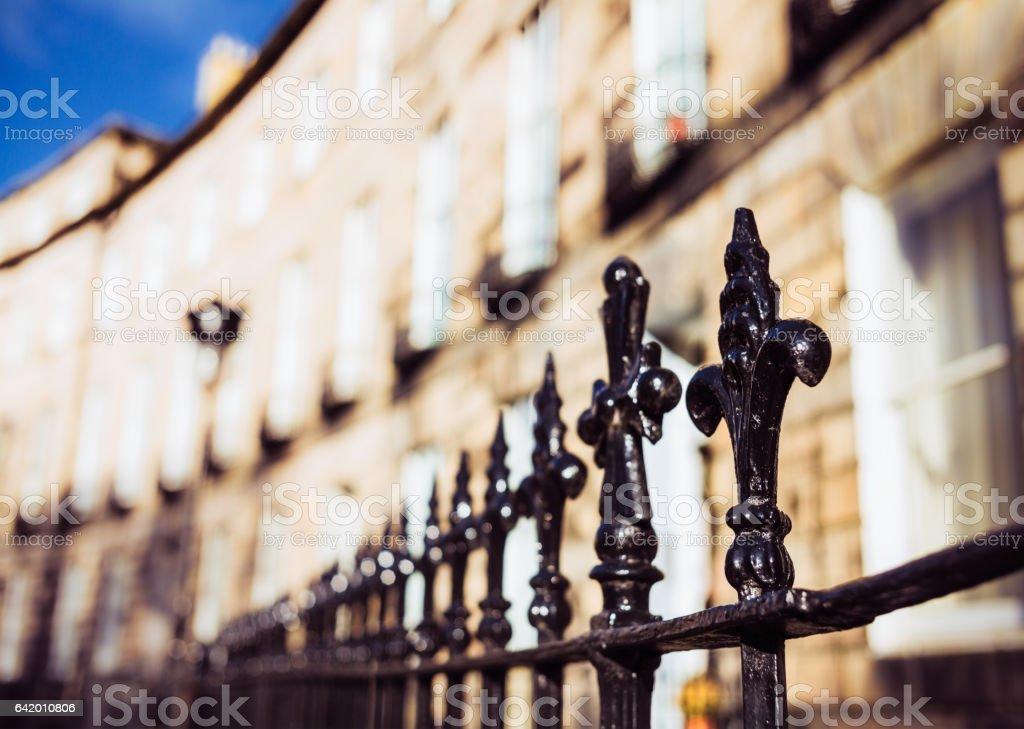 Metal railing spikes in Edinburgh's New Town stock photo